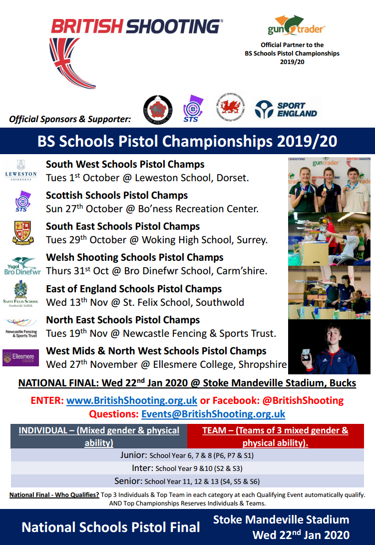2019 British Shooting Schools Pistol Championships - Entries Now Open